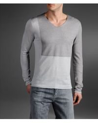 Emporio Armani Twocolor Sweater in Double Silk and Linen - Lyst