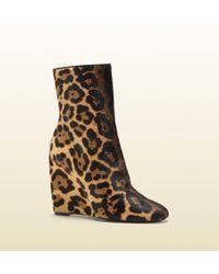 Gucci Charlen Jaguar Print Wedge Bootie - Brown