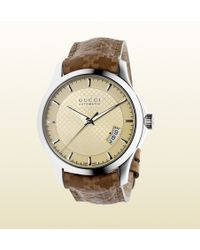 Gucci G-timeless Medium Stainless Steel And Leather Watch - Lyst
