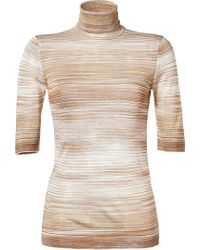Missoni Metallic Knit Short Sleeve Turtleneck - Lyst