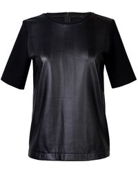 Tibi Striped Perforated Leather Top - Lyst