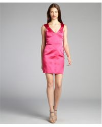Vera Wang Lavender Hot Pink Satin Structured V-neck Sleeveless Dress - Lyst