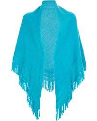 Balmain Intricately Knit Poncho - Blue