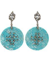 Bochic - Carved Turquoise Circle Earrings - Lyst