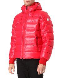 moncler red bomber jacket