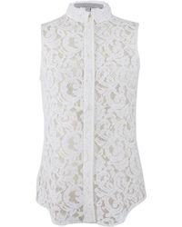Victoria Beckham Sleeveless Lace Button Front Stretch Blouse - Lyst