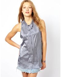 American Apparel Sleeveless Blouse with Neck Tie - Blue