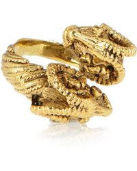 Mallarino - Double Ram Goldplated Ring - Lyst