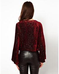 Winter Kate Flocked Velvet Jacket - Purple