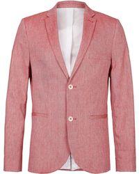 Topman Red Linen Skinny Blazer - Lyst