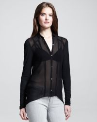 Helmut - Sheer Jersey Sleeve Buttondown Blouse - Lyst