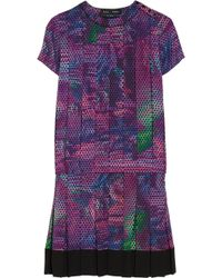 Proenza Schouler Cap Sleeve Slit Neck Dress - Blue