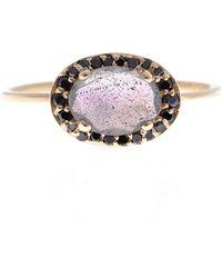 Anna Sheffield - Labradorite and Black Diamond Chasse Amulet Ring - Lyst
