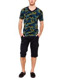 Italia Independent V-Neck Camouflage Tee - Lyst