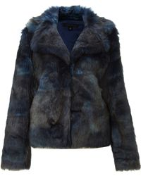 Kenneth Cole Faux Fur Collar Jacket - Blue