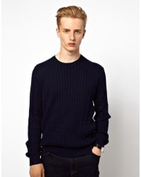 Ben Sherman Sweater Cable Neck - Blue