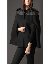 Burberry Leather Panel Wool Cashmere Cape - Lyst