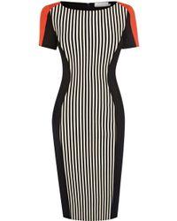Karen Millen Stripe Ponte Roma Dress - Lyst