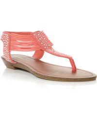 Madden Girl Tanduum Diamante Thong Flat Sandals - Orange