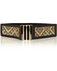 Oasis Straw Weave Waist Belt - Black