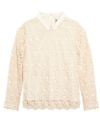 Sea Lace Daisies Collared Shirt - White