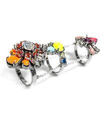 Shourouk Mila Triple Chain Link Ring - Metallic