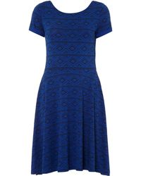 Therapy Aztec Print Skater Dress blue - Lyst