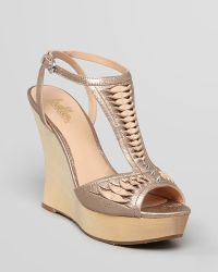 Belle By Sigerson Morrison Platform Wedge Sandals Berry - Natural