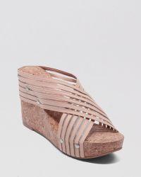 Lucky Brand Cork Wedge Platform Sandals Miller - Natural