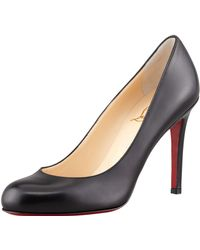 Christian Louboutin Simple Round-Toe Kidskin Red Sole Pump - Lyst