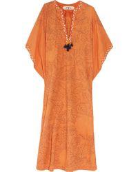 Easton Pearson Alexa Embroidered Cotton Kaftan - Orange