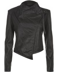 Helmut Lang Washed Leather Cropped Jacket - Lyst