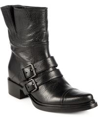 Miu Miu Leather Doublestrap Motorcycle Boots - Black