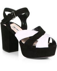 Miu Miu Bicolor Suede Platform Sandals - Lyst