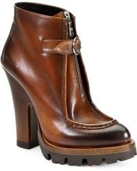 Prada Leather Zipperdetail Platform Ankle Boots - Brown