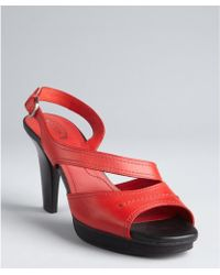 Tod's Red Leather Chelsea Peep Toe Sandals - Lyst