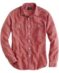 J.Crew Slim Red Selvedge Chambray Utility Shirt - Lyst