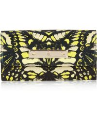 McQ Printed Leather Continental Wallet - Yellow