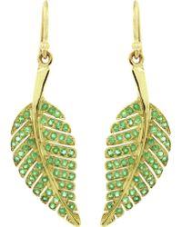 Jennifer Meyer Emerald Leaf Earring - Metallic