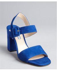 Prada Cobalt Suede Double Strap Sandals - Lyst
