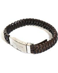 Dolce & Gabbana Woven Leather Logo Cuff brown - Lyst