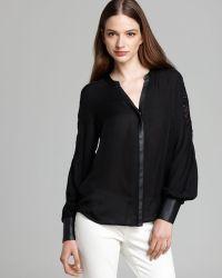 Madison Marcus Blouse Devise Lace Detail - Black