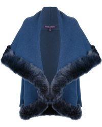 Ralph Lauren Purple Label Fur Trim Cardigan - Blue