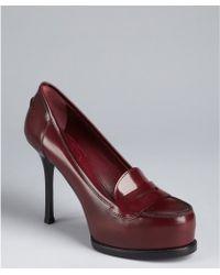 Saint Laurent Burgundy Leather Platform Penny Loafer Pumps - Lyst