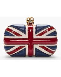 Alexander McQueen Red Patent Leather Britannia Skull Box Clutch - Lyst