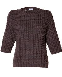 Brunello Cucinelli Cashmere Chunky Knit 3/4 Sleeve Pullover - Lyst