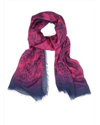 Emma J Shipley - Luxe Amazon Jungle Oversized Mulberry Colour Scarf By - Lyst