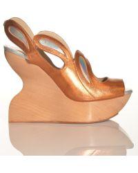 Joanne Stoker - Cakewalk Orange Wavy Wedge Sandal By - Lyst