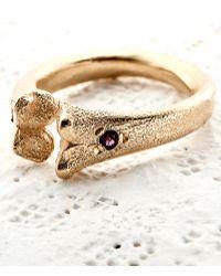 Rachel Entwistle - Bone Ring Gold With Rubies - Lyst