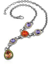 Az Collection Purple & Orange Drop Necklace - Lyst